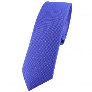 schmale TigerTie Seidenkrawatte in blau silber gepunktet - Krawatte 100% Seide