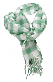 Halstuch in grün weiß kariert mit Fransen - Gr. 100 x 100 cm - Schal