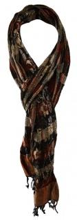 TigerTie Schal in dunkelbraun schwarz rot grau braun gemustert mit Fransen