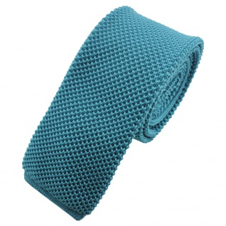 TigerTie - schmale Strickkrawatte türkis wasserblau einfarbig uni