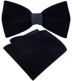 TigerTie Designer Samt Fliege + Baumwollsamt Einstecktuch schwarzblau Uni + Box