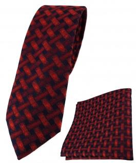 schmale TigerTie Krawatte + Einstecktuch weinrot schwarz - Motiv Flechtmuster
