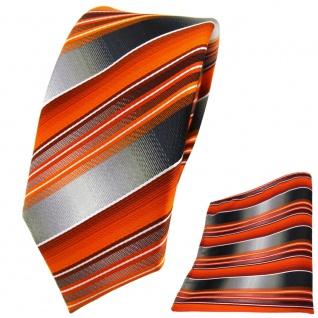 Schmale TigerTie Krawatte + Einstecktuch orange anthrazit silber grau gestreift