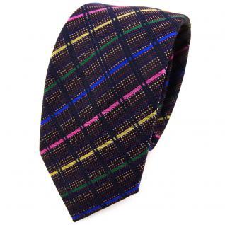 Schmale TigerTie Krawatte in rosa blau grün schwarz gestreift - Schlips Binder