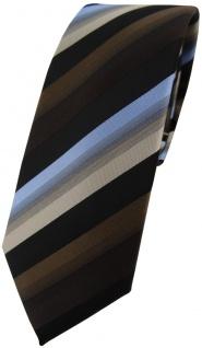 schmale TigerTie Krawatte in braun dunkelbraun blau beige schwarz gestreift