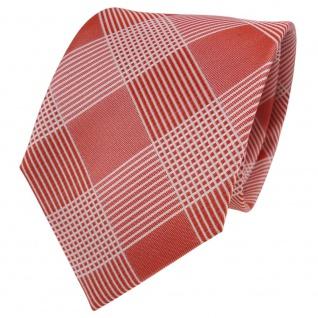 TigerTie Designer Seidenkrawatte orange weiß kariert - Krawatte Seide Silk