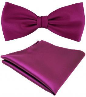 TigerTie Satin Fliege + Einstecktuch lila magenta fuchsia einfarbig +Geschenkbox