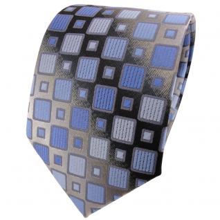 TigerTie Krawatte in blau hellblau silbergrau kariert - Binder Tie Schlips