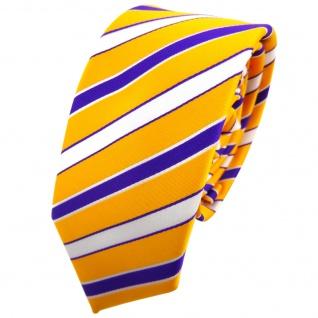 Schmale TigerTie Krawatte orange leuchthellorange lila weiß gestreift - Binder