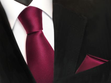 schöne TigerTie Krawatte + Einstecktuch rot bordeaux uni - Binder Tie Polyester