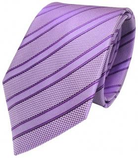 TigerTie Seidenkrawatte in lila flieder schwarz gestreift - Krawatte 100% Seide