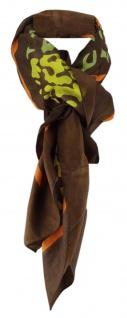 Halstuch in senfgelb braun orange grün weissgrau gemustert - Gr. 110 x 110 cm
