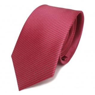 schmale Seidenkrawatte rot rosé grau gestreift - Krawatte Seide Silk Tie
