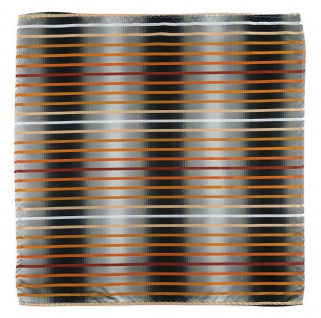 TigerTie Einstecktuch orange lachs rotbraun weiss silbergrau schwarz gestreift - Vorschau 2