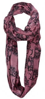 TigerTie Loop Schal in rosa schwarz mit Totenkopf Motiven - Größe 200 x 100 cm