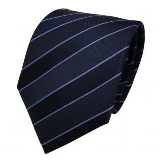 TigerTie Designer Krawatte - Schlips Binder blau dunkelblau gestreift - Tie - Vorschau 2
