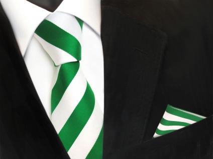 Designer TigerTie Krawatte + Einstecktuch grün leuchtgrün weiss gestreift