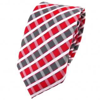 Schmale TigerTie Krawatte rot grau silber weiss gestreift - Schlips Binder