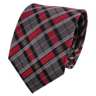 TigerTie Designer Seidenkrawatte rot grau anthrazit kariert - Krawatte Seide
