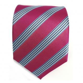 TigerTie Krawatte - Schlips Binder pink blau schwarz weiss gestreift - Tie - Vorschau 2