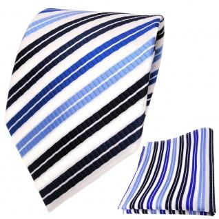 TigerTie Designer Krawatte + Einstecktuch blau dunkelblau silber gestreift