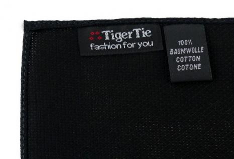 TigerTie Plastron Pique 2tlg Krawatte + Einstecktuch in schwarz uni gemustert - Vorschau 4