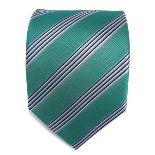 Elegante Krawatte - Schlips Binder grün blau schwarz weiss gestreift - Tie - Vorschau 2