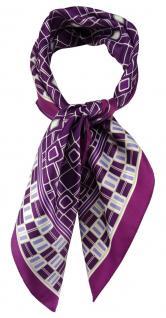 TigerTie Damen Nickituch Halstuch in lila violett silber flieder grau gemustert