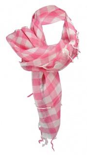 Halstuch in rosa weiß kariert mit Fransen - Tuch Größe 100 x 100 cm