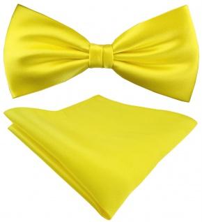 Seidenfliege + TigerTie Satin Einstecktuch in Uni gelb zitronengelb - 100% Seide - Vorschau