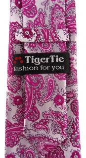 TigerTie Designer Krawatte in magenta silber Paisley gemustert - Vorschau 3