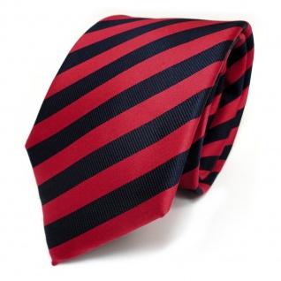TigerTie Designer Seidenkrawatte rot blau dunkelblau schwarzblau gestreift