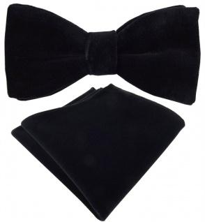 TigerTie Samt Fliege + Einstecktuch in schwarz Uni + Box - Baumwollsamt Schleife - Vorschau