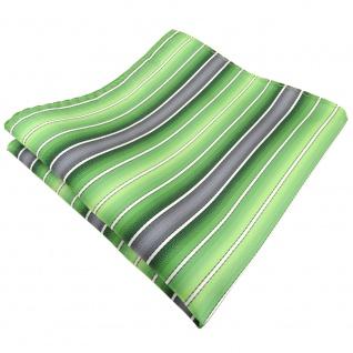 TigerTie Einstecktuch grün hellgrün grau creme gestreift - Tuch 100% Polyester