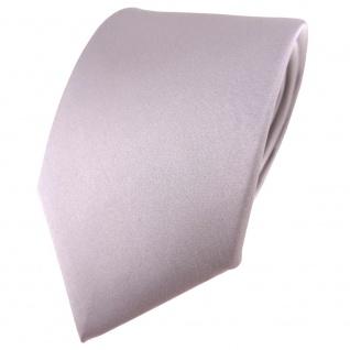 TigerTie Satin Seidenkrawatte silber grau einfarbig Uni - Krawatte 100% Seide
