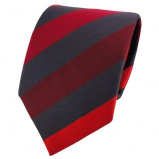 TigerTie Satin Krawatte rot dunkelrot weinrot anthrazit gestreift - Binder Tie