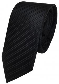 Schmale TigerTie Designer Krawatte schwarz gestreift - Krawatte 100% reine Seide