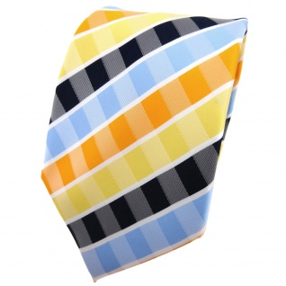 TigerTie Krawatte gelb orange blau hellblau weiß gestreift - Binder Tie