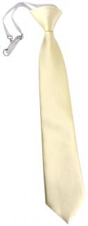 TigerTie Kinderkrawatte beige creme Uni - Krawatte vorgebunden mit Gummizug