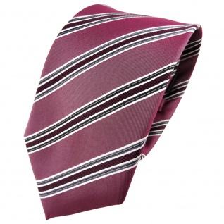 TigerTie Seidenkrawatte rot bordeaux anthrazit silber gestreift - Krawatte Seide