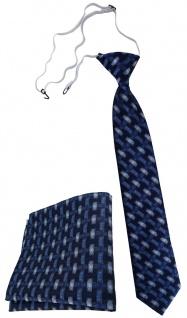 TigerTie Kinderkrawatte + Einstecktuch marine dunkelblau - Motiv Flechtmuster