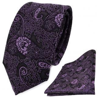 schmale TigerTie Krawatte + Einstecktuch lila violett flieder Paisley gemustert