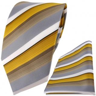 TigerTie Designer Krawatte + Einstecktuch in gold grau weiss gestreift