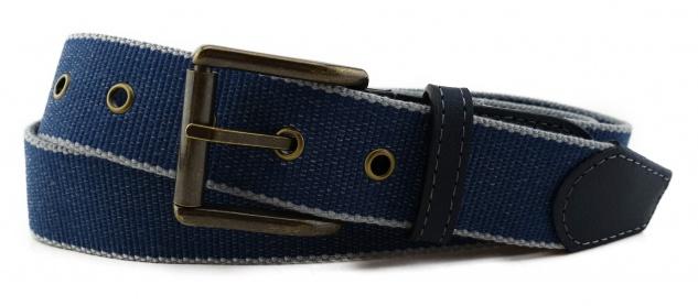 TigerTie - Stoffgürtel in blau grau gemustert - Bundweite 100 cm
