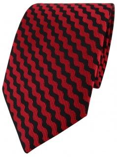 TigerTie Designer Krawatte in rot schwarz wellenmuster - Schlips Binder Tie