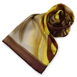 Damen Seidenschal gold gelb beige braun Motive - 160 x 35 - Halstuch Schal