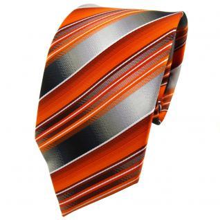 TigerTie Krawatte orange anthrazit silber grau gestreift - Tie Binder