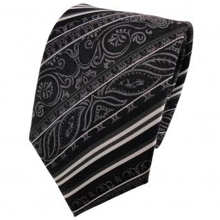 TigerTie Seidenkrawatte schwarz anthrazit grau silber gestreift - Krawatte Seide