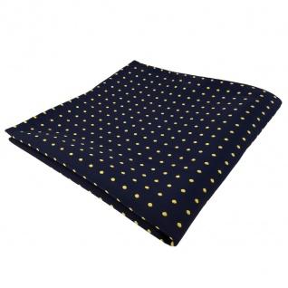 TigerTie Einstecktuch blau dunkelblau marine gold gepunktet - Tuch Polyester
