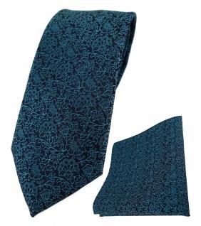 TigerTie Designer Krawatte + Einstecktuch in petrol schwarz florales Muster